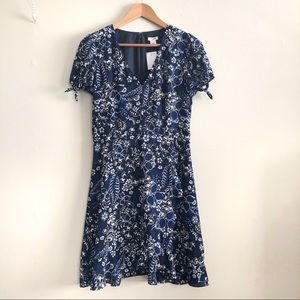 J. Crew Factory Blue Floral Faux Wrap Dress NWT